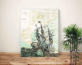 Octopus Print, Kraken Art, Coastal Wall Art, Nautical Wall Decor, Octopus Poster, Coastal Wall Decor, Octopus Art, Ocean Decor, Ocean Art