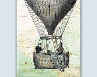 Hot Air Balloon, Flying Decorations, Playroom educational decoration, Balloon print, Hot air balloon communication, Montgolfiere collection