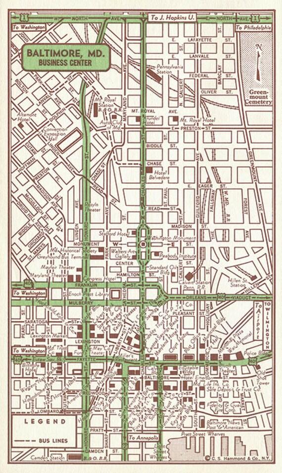 Baltimore Street Map, Baltimore Old Map, Baltimore Print, Baltimore Map  Gift, Baltimore Map Decor, Baltimore Maryland, Office Wall Art