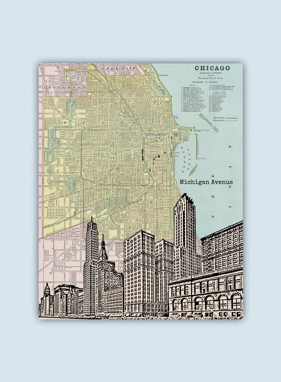Chicago Art Print Chicago Map Chicago Wall Art Personalized Etsy