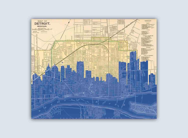 Detroit Art Print Detroit Skyline Art Detroit Poster   Etsy