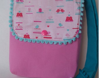 Little Girls bag girls handbag pink girls handbag bag for girls  fabric handbag little girl bag gift for girls bag with pompoms