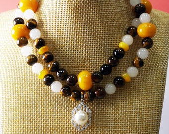 Tiger Eyes + White Jade + Yellow Agate Stones Necklace with Silver Charm