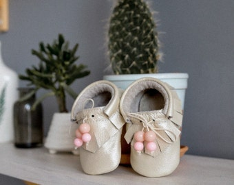 46ba9f865f182 Baby Girl Leather Moccs-Moccs-Baptism Shoes-Girl Moccasins-Baby Moccs-Baby  Girl Shoes-Baby first shoes-Christening shoes-Smart Baby Shoes