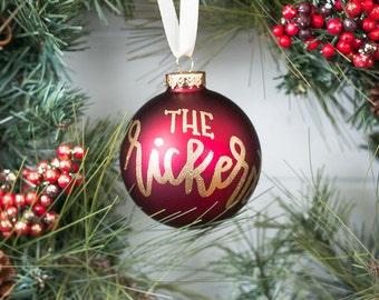 Custom Last Name Christmas Ornament | Personalized Family Name Christmas Ornament | Custom Glass Christmas Ornament