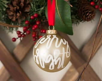 Glass Christmas Ornament | Merry and Bright Christmas Ornament | Hand Lettered Ornament | Gold or Red Ornament
