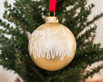2017 Baby's First Christmas Ornament | Custom Glass Christmas Ornament | Hand Lettered Ornament | Gold or Red Ornament