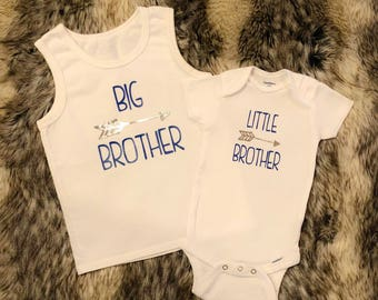 Big brother - little brother - big sister - little sister onesie shirt - pair of sibling shirts
