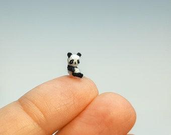 Micro Crochet Panda. Crochet Animals Panda. Micro Amigurumi Panda Bear. Collection Miniature. Panda figurine.