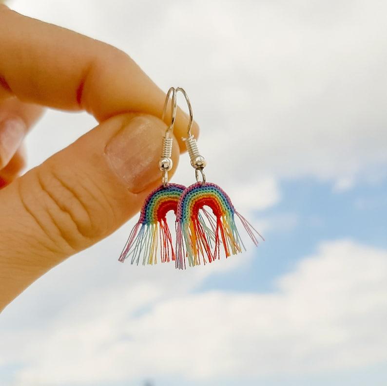 Crochet Rainbow Earrings. Miniature Rainbow PDF Pattern. Micro image 9