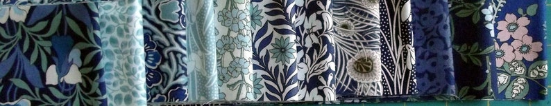 Hesketh House Collection Blue NEW SEASON 12 Cotton Strips Liberty Jelly Roll