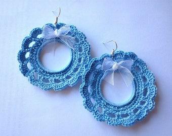 Blue lace crochet hoop earrings
