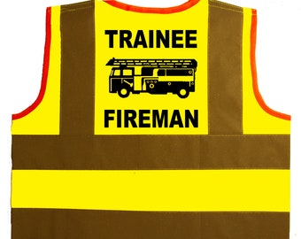 82f2f9ce Trainee Fireman Baby/Children/Kids Hi Vis Safety Jacket/Vest Sizes 0 to 8  Years Optional Personalised On Front