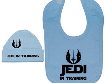 22d45ee01ce Baby Feeding Bib   Beanie Hat Cap Set-Jedi in Training-0 to 24 Months  White