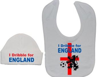dcb8c3a84e9 Football Baby Feeding Bib   Beanie Hat Cap Set-I Dribble For England-Newborn  to 24 Months