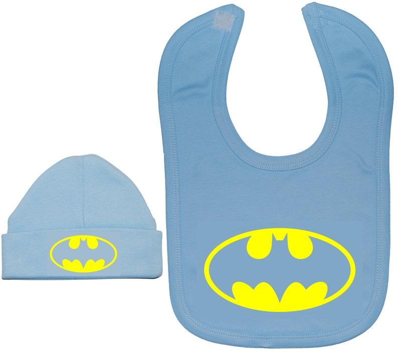 31bb9d036ad Bat Baby Feeding Bib   Beanie Hat Cap Set-Batman-0 to 24