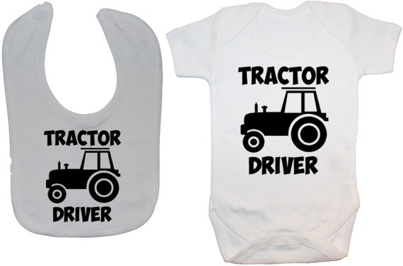 Trainee Tractor Driver Baby Grow//Bodysuit /& Bib /& Hat 0-24m Boy Girl