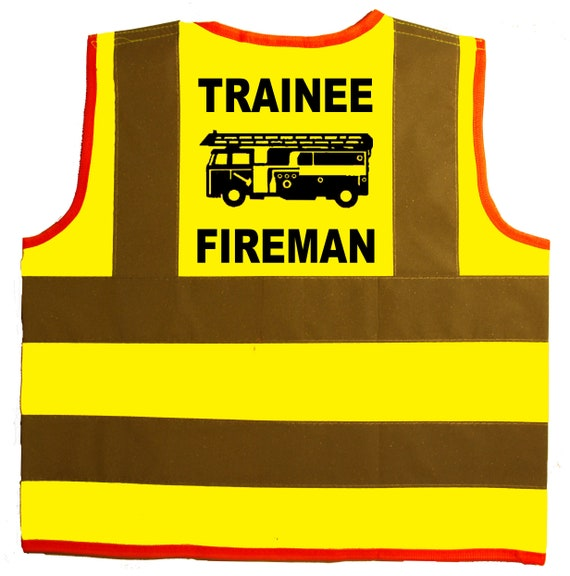 Trainee Fireman BabyChildrenKids Hi Vis Safety JacketVest Sizes 0 to 8 Years Optional Personalised On Front