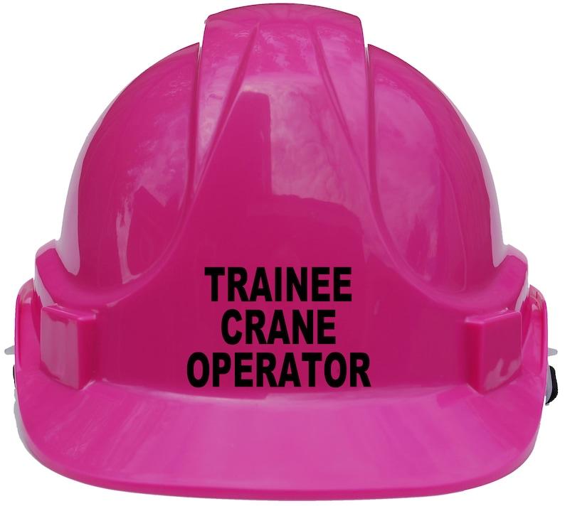 Pink /& Yellow Trainee Crane Operator Children Kids Hard Hat Safety Helmet With Chin Strap One Size Unisex White Blue