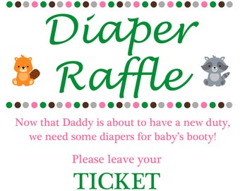 Woodland Baby Diaper Raffle Poster and Tickets