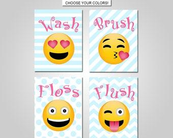 Emoji Kids Bathroom Wall Art - Emoji Bathroom Wall Decor - Pink Teal Aqua Emoji Bathroom Prints - Canvas - Printable  sc 1 st  Etsy & Emoji wall decor | Etsy