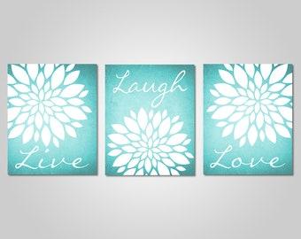 Teal Flower Wall Art   Live Laugh Love   Bedroom Dandelion Art   Aqua Decor    Turquoise Wall Art   DIY Printable Wall Art   Teal Wall Decor