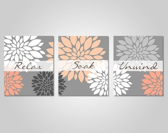 Superbe Bathroom Wall Art   Coral Peach Grey Bathroom Decor   Relax Soak Unwind   Peach  Grey Prints   INSTANT DOWNLOAD   DIY Printable Wall Art