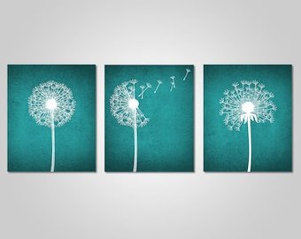 Dandelion Wall Art   Home Wall Art   Bedroom Dandelion Art   Teal Wall Art    Instant Download   DIY Printable Wall Art