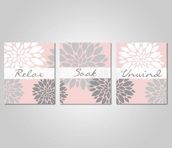 Bathroom Wall Art Blush Pink Grey Bathroom Decor Relax Soak Unwind Blush Grey Prints Instant Download Diy Printable Wall Art