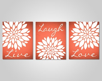 Coral Flower Wall Art   Live Laugh Love   Bedroom Dandelion Art   Coral  Decor