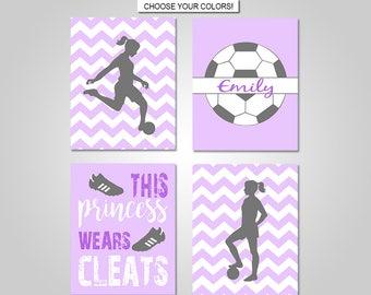 Girls Soccer Wall Art - Girls Soccer Bedroom Wall Decor - Prints - Canvas - Printable