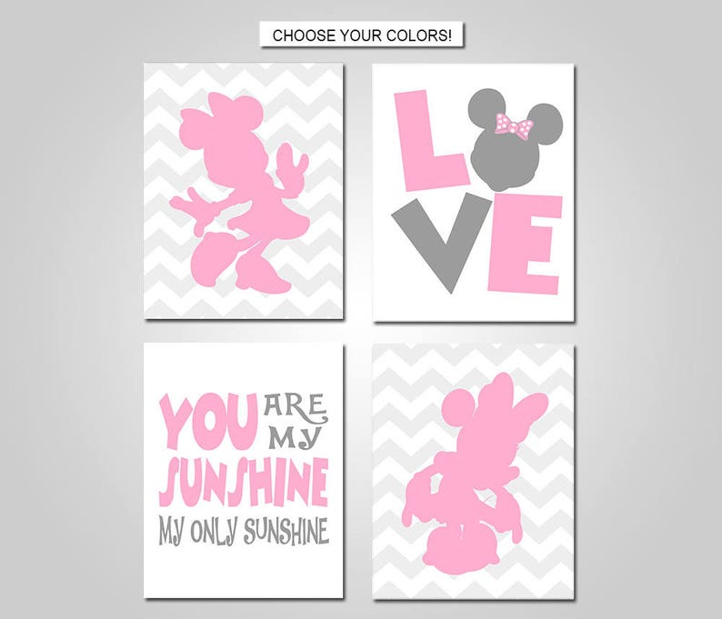 Minnie Mouse Nursery Bedroom Wall Art - Minnie Wall Decor - Minnie Mouse  Prints - Prints - Canvas - Printable