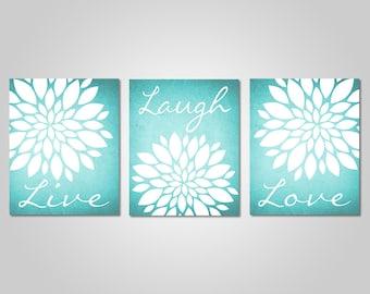 Nice Teal Flower Wall Art   Live Laugh Love   Bedroom Dandelion Art   Aqua Decor