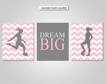 Girls Soccer Wall Art - Soccer Bedroom Wall Decor - Prints - Canvas - Printable