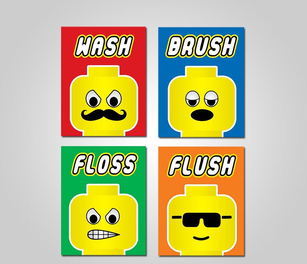 Lego Kids Bathroom Wall Art Kids Bathroom Lego Printable | Etsy