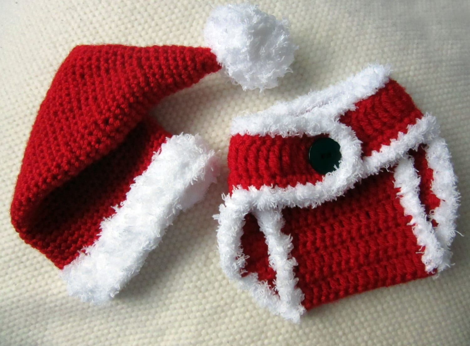 56792be9488 Crochet Santa Hat and Diaper Cover baby santa outfit baby