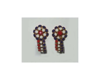 Vintage Red, White, And Blue Earrings, Milk Glass, Clip On, Beautiful