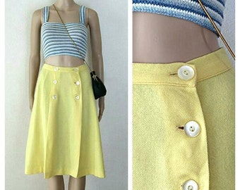 70s Yellow Wool Skirt A-Line by ILGWU Buttoned Front Solid Color Skirts Vintage Size Small to Med Retro Preppy Collegiate Skirts Union Made