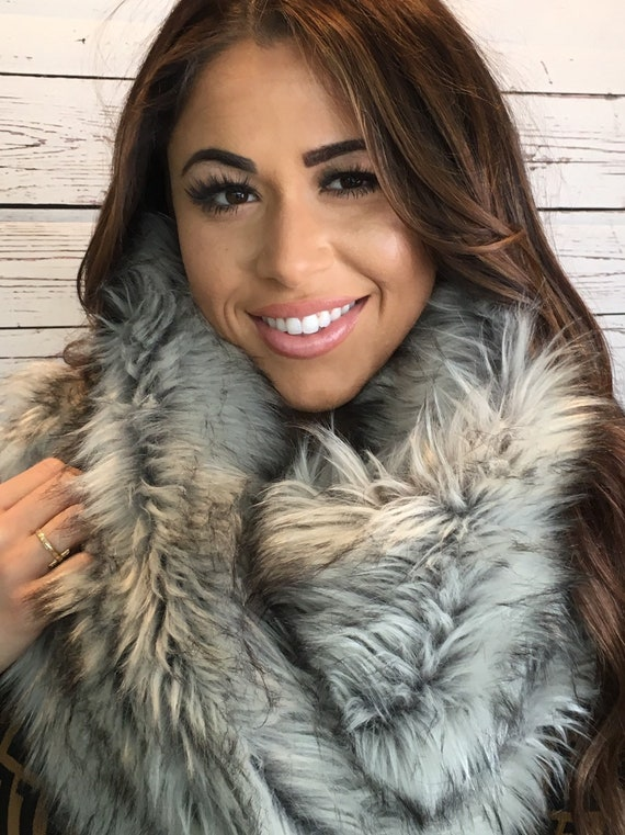 Warm for Winter Faux Fur Paw Prints Fleece Scarf