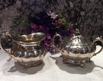 1881 Rogers Canada Plated Silver Oversized Footed Cream and Sugar