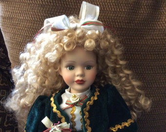 Beautiful Porcelain Doll in Dark Green Faux Velvet with Gold Trim