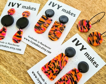 Striped Handmade Tiger Print Clay Earrings in gold and black