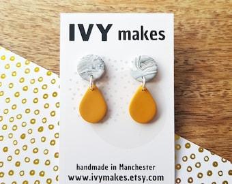 Colorful clay earrings I Long yellow blue silver earrings I Handmade jewelry