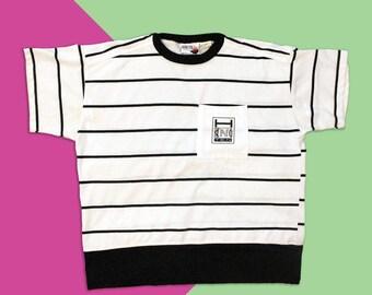ded22891b8 Vintage 80's - 90's Hang Ten Black & White Striped T-shirt - Unisex Size  Medium/Large