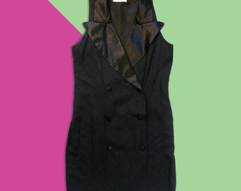 91097b200c94da Vintage 80 s - 90 s Sleeveless Black Double Breasted Blazer Dress with  Oversized Satin Lapels - Women s Size 4 Small
