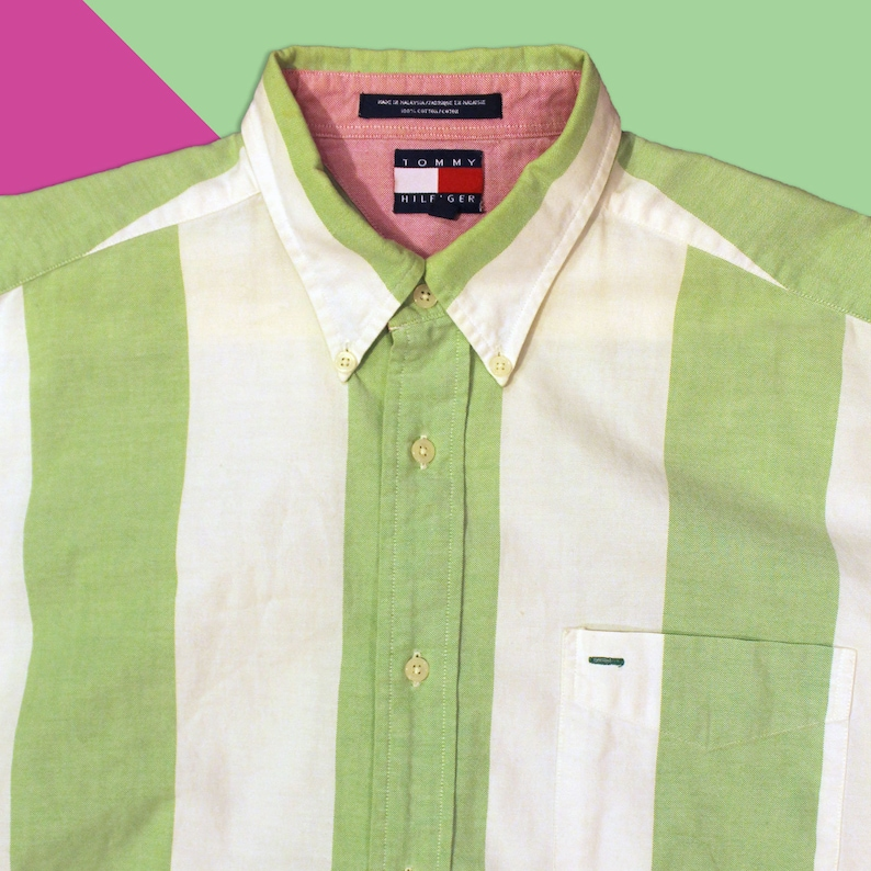 a1f0728c Vintage 90's Tommy Hilfiger Green and White Striped Button | Etsy