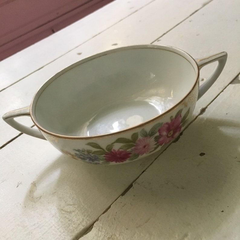 Rosenthal Donatello handled soup bowl flowers gold trim shabby chic