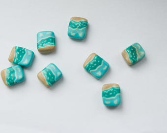 Beads with decorative pattern sea. 8 pieces