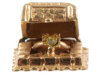 14KT Gold Ring in a Box Charm/Engagement Token/Wedding Token
