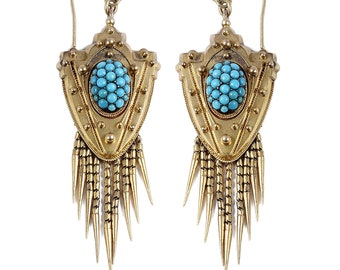 Victorian 15 KT Yellow Gold & Cabochon Turquoise Foxtail Fringe Earrings